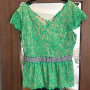 Green Lace Top with Bow detail